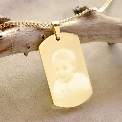 Photo engraved gold pendant